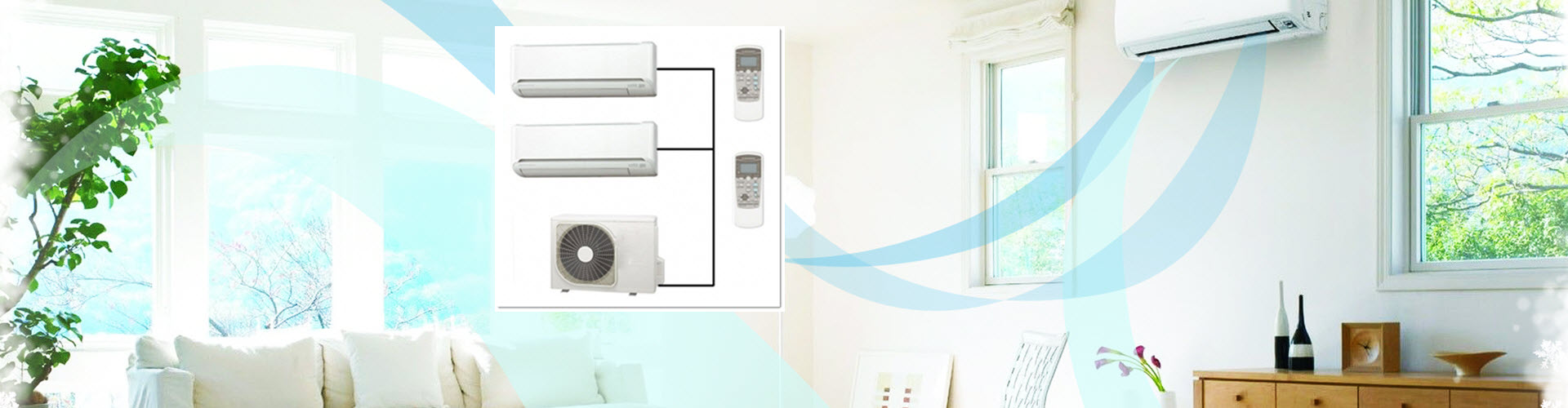 Fujitsu air conditioner installed in a room and shown in a box-image